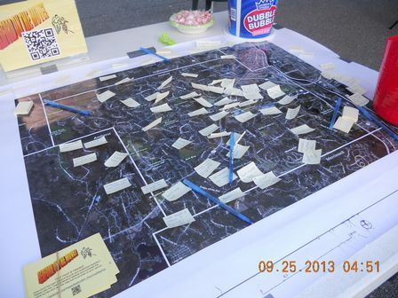Project Feedback Map with post it notes from residents who have given their input on where they like to bike and walk